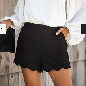 Ruffle hem navy high waisted shorts